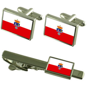 【送料無料】メンズアクセサリ― カンタブリアフラグカフスボタンタイクリップマッチングボックスセットcantabria flag cufflinks tie clip matching box gift set
