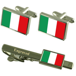 【送料無料】メンズアクセサリ― イタリアカフスボタンタイクリップマッチングボックスitaly flag cufflinks engraved tie clip matching box set