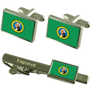【送料無料】メンズアクセサリ― ワシントンカフスボタンタイクリップマッチングボックスwashington flag cufflinks engraved tie clip matching box set