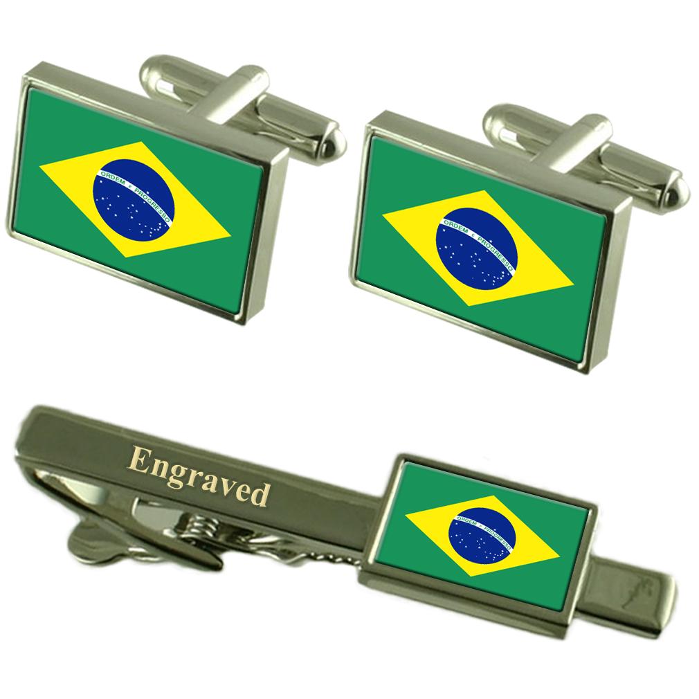 【送料無料】メンズアクセサリ― ブラジルカフスボタンタイクリップマッチングボックスbrazil flag cufflinks engraved tie clip matching box set