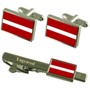 【送料無料】メンズアクセサリ― ラトビアカフスボタンタイクリップマッチングボックスlatvia flag cufflinks engraved tie clip matching box set