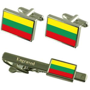 【送料無料】メンズアクセサリ― リトアニアカフスボタンタイクリップマッチングボックスlithuania flag cufflinks engraved tie clip matching box set