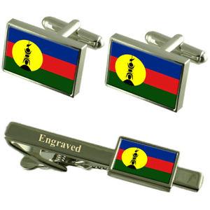【送料無料】メンズアクセサリ― ニューカレドニアカフスボタンタイクリップマッチングボックス caledonia flag cufflinks engraved tie clip matching box set