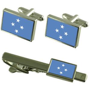 【送料無料】メンズアクセサリ― ミクロネシアカフスボタンタイクリップマッチングボックスセットmicronesia flag cufflinks tie clip matching box gift set