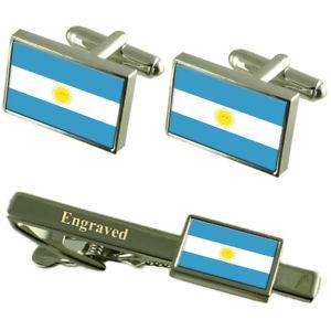 【送料無料】メンズアクセサリ― アルゼンチンカフスボタンタイクリップマッチングボックスargentina flag cufflinks engraved tie clip matching box set