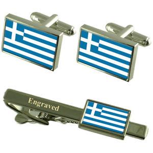 【送料無料】メンズアクセサリ― ギリシャカフスボタンタイクリップマッチングボックスgreece flag cufflinks engraved tie clip matching box set