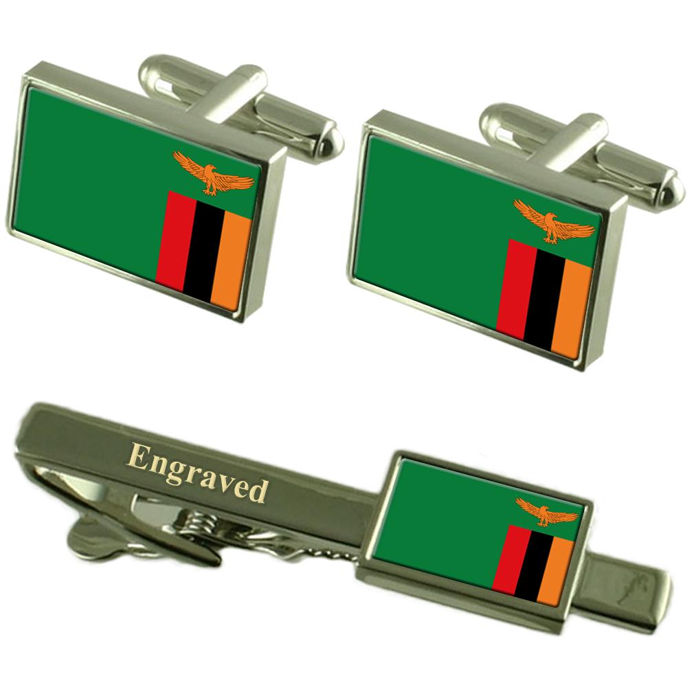 【送料無料】メンズアクセサリ― ザンビアカフスボタンタイクリップマッチングボックスzambia flag cufflinks engraved tie clip matching box set
