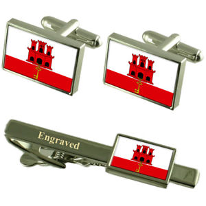 【送料無料】メンズアクセサリ― ジブラルタルカフスボタンタイクリップマッチングボックスgibraltar flag cufflinks engraved tie clip matching box set