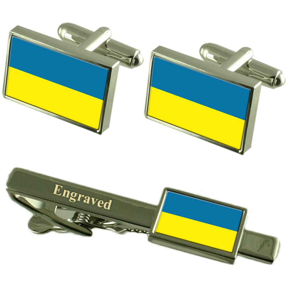 【送料無料】メンズアクセサリ― ウクライナカフスボタンタイクリップマッチングボックスukraine flag cufflinks engraved tie clip matching box set