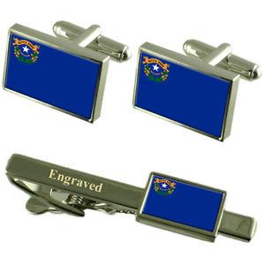 【送料無料】メンズアクセサリ― ネバダカフスボタンタイクリップマッチングボックスnevada flag cufflinks engraved tie clip matching box set