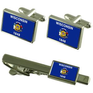 【送料無料】メンズアクセサリ― ウィスコンシンカフスボタンタイクリップマッチングボックスセットwisconsin flag cufflinks tie clip matching box gift set