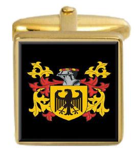 【送料無料】メンズアクセサリ― スコットランドカフスボタンボックスコートlangshaw scotland family crest surname coat of arms gold cufflinks engraved box