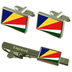 【送料無料】メンズアクセサリ― セーシェルカフスボタンタイクリップマッチングボックスseychelles flag cufflinks engraved tie clip matching box set