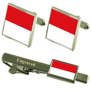 【送料無料】メンズアクセサリ― モナコカフスボタンタイクリップマッチングボックスmonaco flag cufflinks engraved tie clip matching box set