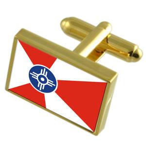【送料無料】メンズアクセサリ― ウィチタゴールドフラッグカフスボタンボックスwichita city united states gold flag cufflinks engraved box
