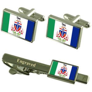【送料無料】メンズアクセサリ― ユーコンカフスボタンタイクリップマッチングボックスyukon flag cufflinks engraved tie clip matching box set