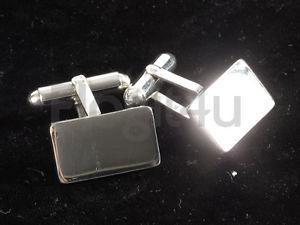 【送料無料】メンズアクセサリ― スターリングシルバートグルバーカフスボタンsterling silver polished plain rectangle mens toggle bar cufflinks