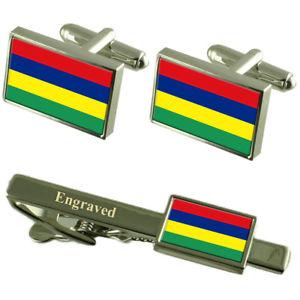 【送料無料】メンズアクセサリ― モーリシャスカフスボタンタイクリップマッチングボックスmauritius flag cufflinks engraved tie clip matching box set