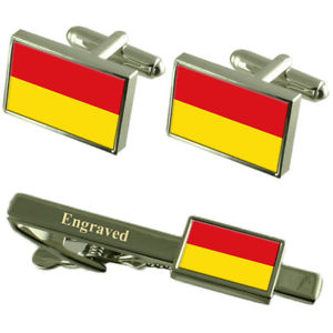 【送料無料】メンズアクセサリ― パーダーボルンドイツフラグカフスリンクネクタイピンセットpaderborn city germany flag cufflinks engraved tie clip set