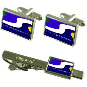 【送料無料】メンズアクセサリ― サクラメントusaフラグカフスリンクネクタイピンセットsacramento city usa flag cufflinks engraved tie clip set