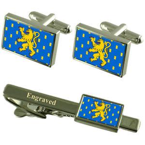 【送料無料】メンズアクセサリ― フランスカフスボタンタイクリップセットfranchecomte province france flag cufflinks engraved tie clip set