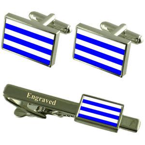 【送料無料】メンズアクセサリ― ダンケルクフランスカフスボタンタイクリップセットdunkerque city france flag cufflinks engraved tie clip set
