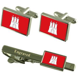 【送料無料】メンズアクセサリ― ハンブルグドイツカフスボタンタイクリップセットhamburg city germany flag cufflinks engraved tie clip set