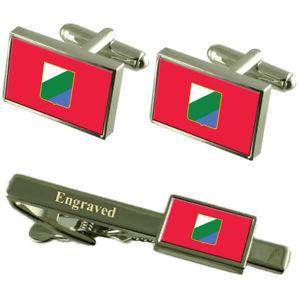 【送料無料】メンズアクセサリ― アブルッツォイタリアカフスボタンタイクリップセットabruzzo region italy flag cufflinks engraved tie clip set