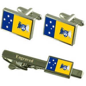 【送料無料】メンズアクセサリ― キャンベラオーストラリアカフスボタンタイクリップセットcanberra city australia flag cufflinks engraved tie clip set
