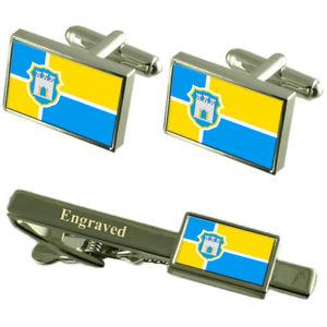 【送料無料】メンズアクセサリ― ウクライナカフスボタンタイクリップセットzhytomyr city ukraine flag cufflinks engraved tie clip set