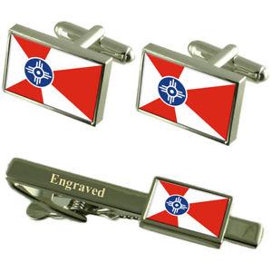 【送料無料】メンズアクセサリ― ウィチタアメリカフラグカフスリンクネクタイピンセットwichita city united states flag cufflinks engraved tie clip set