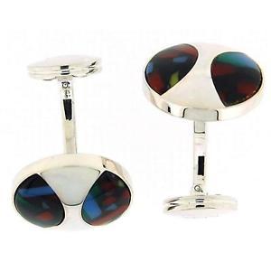 【送料無料】メンズアクセサリ― マルチカラーデザインカフリンクス925 silver round shaped cufflinks with multi colour design by toc