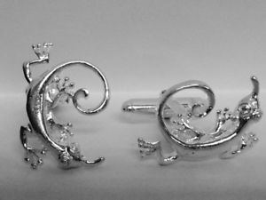 【送料無料】メンズアクセサリ― スターリングシルバーカフスボタン925 sterling silver geko cufflinks made in england
