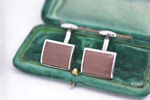 【送料無料】メンズアクセサリ― ビンテージスターリングロンドンリンクデザインシルバーカフリンクスvintage sterling silver cufflinks with a leather design by links of london b446