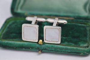 【送料無料】メンズアクセサリ― ビンテージスターリングロンドンリンクカフリンクスvintage sterling silver cufflinks with mother of pearl by links of london b595