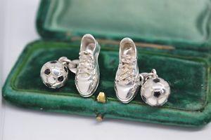 【送料無料】メンズアクセサリ― ビンテージスターリングシルバーロンドンリンクサッカーデザインカフリンクスvintage sterling silver cufflinks with football design by links of london b485