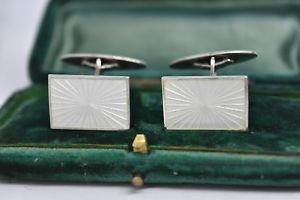 【送料無料】メンズアクセサリ― ビンテージスターリングシルバーホワイトエナメルデザインカフリンクスvintage sterling silver cufflinks with a white enamel design b912