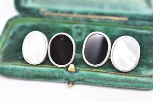 【送料無料】メンズアクセサリ― ビンテージスターリングパールシルバーカフスボタンロンドンリンクオニキスvintage sterling silver cufflinks with pearl and onyx by links of london g201