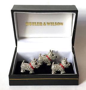 【送料無料】メンズアクセサリ― バトラーウィルソンクリスタルスコッティクリアピンセットbutler and wilson clear crystal scottie dog cufflink amp; pin set boxed