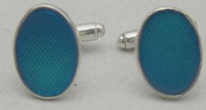 【送料無料】メンズアクセサリ― エンジンオンエナメルオーバルスターリングシルバーカフリンクスengine turned amp; enamelled oval sterling silver cufflinks