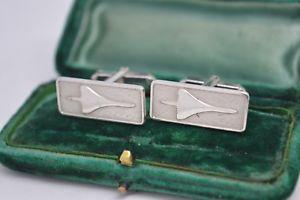 【送料無料】メンズアクセサリ― ビンテージコンコルドスターリングシルバーカフリンクスvintage sterling silver cufflinks with a genuine concorde design b775