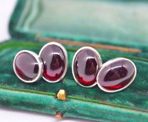 【送料無料】メンズアクセサリ― スターリングシルバーガーネットカボションチェーンカフリンクスsterling silver chain cufflinks with a rare garnet cabochon insert