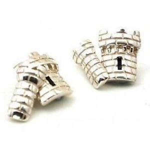 【送料無料】メンズアクセサリ― ソリッドスターリングシルバーダブルキャッスルタレットバーカフスボタンスコットランドsolid sterling silver double castle turret bar cufflinks made in scotland