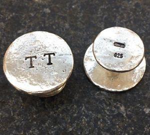 【送料無料】メンズアクセサリ― パーソナライズスターリングロンドンシルバーカフリンクスハンドメイドイニシャルpersonalised chunky sterling silver cufflinks hand made in london your initials