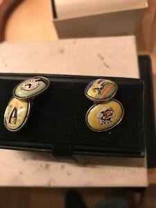【送料無料】メンズアクセサリ― バイスエナメルダブルスターリングシルバーカフリンクス4 vices enamel double sterling silver cufflinks
