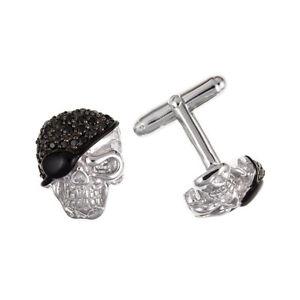 【送料無料】メンズアクセサリ― ソリッドスターリングシルバースカルカフスボタンセット 925 solid sterling silver amp; stone set skull cufflinks