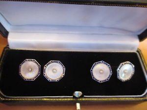 【送料無料】メンズアクセサリ― アールデコビンテージシードパールエナメルシルバーカフリンクスボックスart deco vintage, mother of pearl amp; seed pearl enamel silver cufflinks gift box