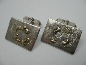 【送料無料】メンズアクセサリ― ヴィンテージデザイナーカフスボタンシルバーゴールドhandmade very nice vintage designer cufflinks silver and gold