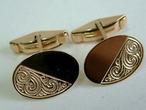 【送料無料】メンズアクセサリ― イエローゴールドモダンカフリンクス9ct yellow gold modern half engraved oval cufflinks