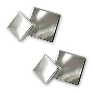 【送料無料】メンズアクセサリ― スターリングシルバーパールカフスボタンsterling silver white mother of pearl doublesided cufflinks